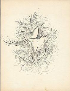 Clinton Clark ScrapbookPart 1 - extreme bird flourish. Those Victorians were serious about their penmanship practice!