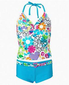 Breaking Waves Kids Swimsuit, Girls Printed Ruffle Tankini - Kids Girls 7-16 - Macy's