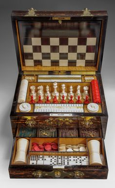 superb 19th Century coromandel, brass and onyx bead mounted games compendium by Betjemanns.