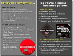 So you're a songwriter? Need help getting your songs out there, licensing, writing better songs? So you're a music business person? Need help with business planning, publishing, management and strategy? Join the Songpreneur Community. http://songwritingandmusicbusiness.com/articles/Benefits_of_Joining_Songwriting_and_Music_Business/
