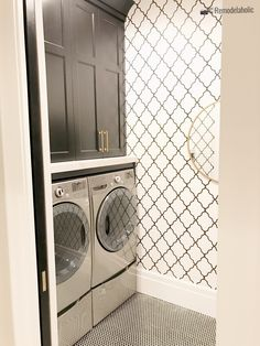 Create a unique laundry room with wallpaper! There are so many designs like this one and more! Small laundry room with wallpaper trellis design idea, UVPH 2018 Home 30 Shelby Homes, Gatehouse No. 1 Furniture & Design, Photo by Remodelaholic Small Laundry Closet, Laundry Room Storage, Laundry Room Design, Laundry Area, Drying Rack Laundry, Drying Racks, Laundry Room Wallpaper, Feature Wall Bedroom, Laundry Room Inspiration