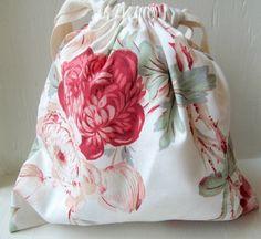 Rose Garden Drawstring Bag Reusable Gift Bag by DivineLuluCreations, $8.50