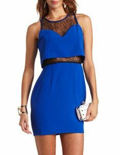 lace inset ruffled body-con dress-Charrlote ruse