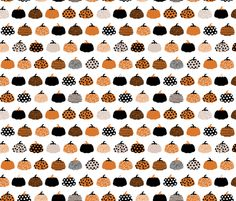 Fall fruit geometric pumpkin design scandinavian style halloween print black and white orange fabric by littlesmilemakers on Spoonflower - custom fabric
