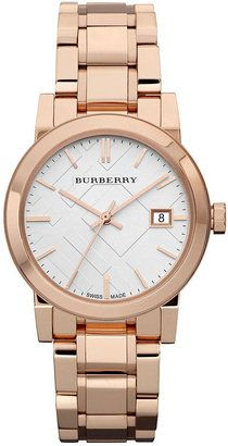 ShopStyle: Burberry Watch, Women's Swiss Rose Gold Tone Stainless Steel Bracelet 34mm BU9104