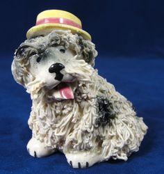 "Vintage  Dog With Fedora Hat Spaghetti Porcelain Figurine White 1950s 3"" Japan"