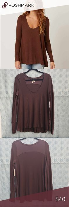 Free People Malibu Thermal Brand new classic thermal from FP. The color is fig (photo with model is true to color)  95% rayon Free People Tops Tees - Long Sleeve