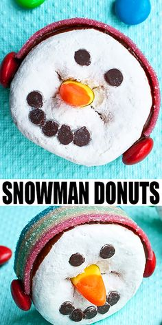 Learn to make these cute and easy snowman donuts, wearing ear muffs. Fun Winter craft to do with kids and you only need store-bought supplies! Salted Chocolate, Chocolate Peanuts, Chocolate Chips, Easy No Bake Desserts, Dessert Recipes, Keto Desserts, Drink Recipes, Edible Crafts, Edible Art