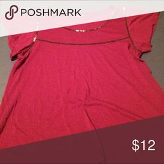 Burgundy colored blouse Burgundy top with silver metal type trim Hi-Line Tops Blouses