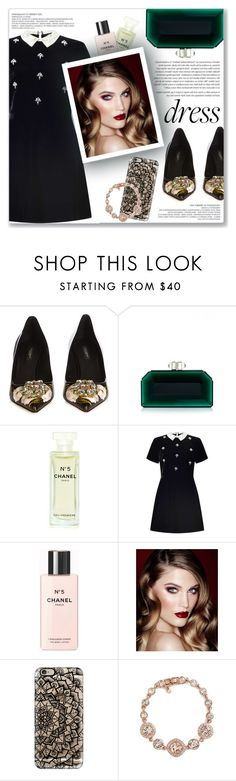 """""""Winter Dresses Under $100"""" by creating-outfits ❤ liked on Polyvore featuring Dolce&Gabbana, Judith Leiber, Chanel, Miss Selfridge, Charlotte Tilbury, Casetify and Givenchy"""