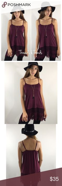 Burgundy Lace Extender Must have burgundy lace extender. Perfect fall & winter staple for under any knit chunky sweater. Size M/L Dresses