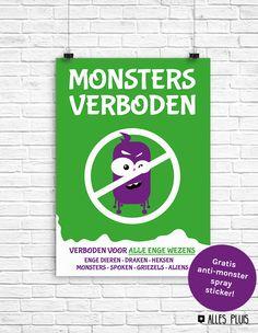 Gave poster 'Monsters verboden'  voor op de babykamer of kinderkamer. Om kinderen gerust te stellen als ze bang zijn voor enge wezens op hun kamertje. Er zit ook een gratis anti monster spray sticker bij!