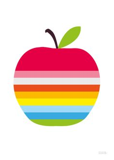 Striped Red Apple Print