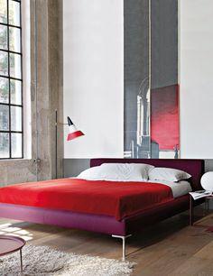 Urbano y contemporáneo  Me gustó esta combinación de colores: rojo pasión asociado a morado o lila del cambio!
