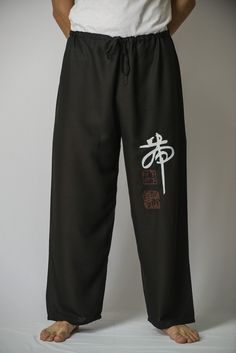Chinese Writing Men's Thai Yoga Pants in Black – Harem Pants