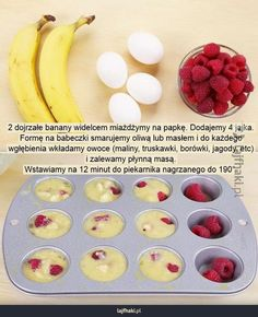 Muffiny w 20 minut Healthy Sweets, Healthy Snacks, Good Food, Yummy Food, Diy Food, Food Inspiration, Food To Make, Food Porn, Food And Drink