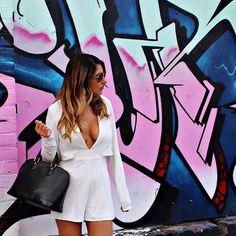White long sleeve romper White long sleeve romper. Low cut. Size XS from LF Missguided Dresses Mini