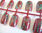 Christmas Nail Art Holiday glitter sparkly red and green glitter fake nail set of 24 gift for her