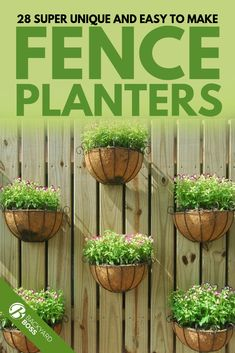 Some people, those handy dandy ones, can whip up homemade planters from just about nothing while others prefer to purchase pre made ones. Regardless of what you choose, these 28 awesome and unique fence planters are sure to inspire! Hanging Plants On Fence, Hanging Planters Outdoor, Recycled Planters, Hanging Planter Boxes, Backyard Planters, Fence Planters, Backyard Fences, Hanging Gardens, Fall Planters