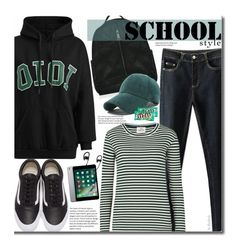 """School Style"" by beebeely-look ❤ liked on Polyvore featuring Mads Nørgaard, Vans, River Island, BackToSchool, stripes, schoolstyle, sammydress and Hoodies"