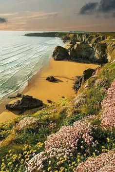 Sunset, Cornwall, England. I would love to sit there with my dog and listen to the sea and write poems and just be all by myself