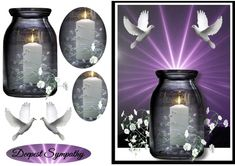 This is a beautiful card for a very sad time. Has a candle and sun ray& in the background and 2 white doves. fits any envelope when finished, and very easy to make. And has a label that say& Deepest Sympathy. Sympathy Cards, Greeting Cards, Deepest Sympathy, White Doves, Mason Jar Lamp, Envelope, Decoupage, Card Making, Candles