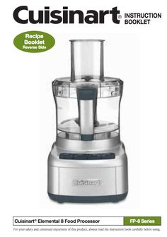 Charmant Elemental 8 Food Processor (FP 8G/FP 8GM) Product Manual