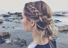 This messy side braid on Lauren Conrad is perfect for keeping your hair cute at the beach (and out of the water).