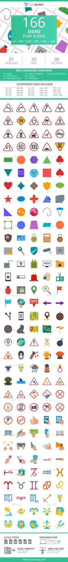 166 Sign #Flat #Icons - Icons. This set includes Zodiac, Flags, Hand Actions, Warning & Caution, Maps & Navigation , Security, Traffic Signs, Shapes & Geometry flat icons. With 166 icons, Iconbunny provides the most essential icons which can be used on all types of platforms including mobile apps, web and graphic design. Each icon is available in different file formats to cover all your needs.