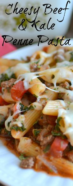 Need a new weeknight dinner? This tasty pasta is ready in less than 30 minutes and is full of cheesy, beefy goodness! Cheesy Beef and Kale Penne Pasta Recipe plus 8 More Comfort Food Pasta Recipes from Hot Eats and Cool Reads