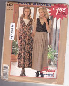 McCall's Stitch & Save P300 Pattern 10 12 14 16 Uncut Loose Fitting V Neck Jumper Top Easy to Sew Modest Midi Dress