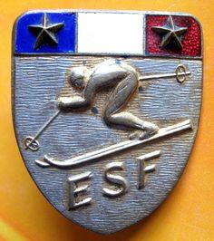 FRENCH SKI SCHOOL - TWO STARS GREAT ENAMEL VINTAGE BADGE    eBay