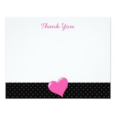 Pink Heart Black and White Polka Dot Note Cards