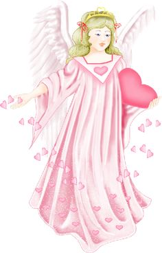 Angel with Heart in Pink Clipart