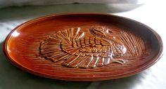 "1973 McCoy Pottery Brown Glazed 16"" Turkey Platter"