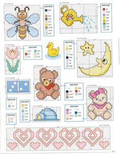 Una Locura de ideas !!! de punto de cruz: Pequeños gráficos para bordar en punto de cruz de motivos infantiles