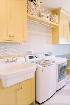 """A Family's Colorful New Home in Sherman Oaks - Hooked on Housesyellow and white laundry room Alison Wonderful Laundry Room Tile Pattern IdeasLearn more relevant information on """"laundry room storage diy"""". Yellow Laundry Rooms, Laundry Room Tile, Farmhouse Laundry Room, Laundry Room Organization, Room Tiles, Laundry Room Design, Laundry Area, Organizing, Small Storage"""