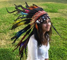 Indian Warbonnet Rainbow Native American Feather Headdress $59  www.theworldoffeathers.com