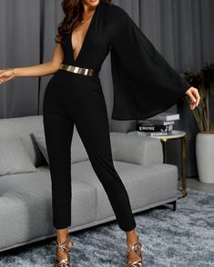 ivrose / One Shoulder Bell Sleeve Plunge Jumpsuits - Diyjoy Trend Fashion, Look Fashion, Womens Fashion, Classic Fashion, Bohemian Fashion, Fashion Vintage, Spring Fashion, Classy Outfits, Stylish Outfits