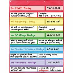 Love, love, love this Everyday Multicolored Pocket Chart™ that's perfect for objectives/standards and schedules!