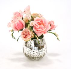 Waterlook® Antique Pink Roses and Freesia in Mercury Glass Vase SKU 16228