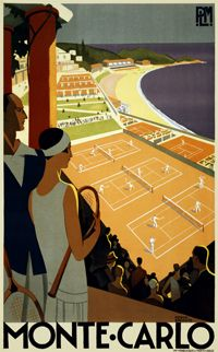 Monte-Carlo PLM' by Roger Broders, 1930 'Monte-Carlo (tennis), PLM' original poster dated Conservation linen mounted and unframed. Dimensions: 40 x 25 inches x 64 cms). Art Deco Posters, Vintage Travel Posters, Poster Prints, Modern Posters, Framed Prints, Art Prints, Old Poster, Retro Poster, Vintage Advertisements
