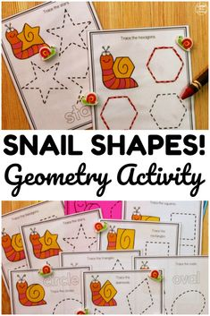 This printable snail themed geometry activity is a fun way to teach early learners a variety of geometric shapes! Perfect for small math centers! Shape Worksheets For Preschool, Shape Tracing Worksheets, Addition And Subtraction Worksheets, Math Activities For Kids, Preschool Printables, Spring Activities, Math For Kids, Fun Math, Science Resources