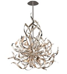 Corbett Lighting Graffiti 6 Light Pendant in Silver Leaf and Polished Stainless 154-46 #lightingnewyork #lny #lighting