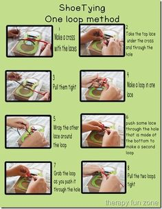 Shoe Tying Methods- Pinned by @PediaStaff – Please Visit ht.ly/63sNtfor all our pediatric therapy pins