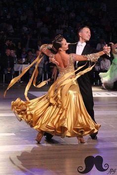 Ballroom Fashion - Gorgeous golden dress. #ballroom #dancesport #dance