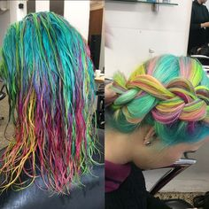 Pastel Neon Rainbow Dutch Braid.    This is cute. I'd rather it be down though.
