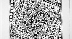 I really like the tangle Rick's Paradox. I had the idea to use it as the string, sort of, and fill the sections with other tangles.     I di...