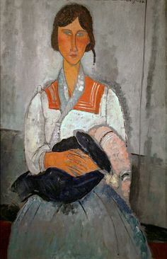 Gypsy Woman with Baby by Amedeo Modigliani  for more Amedeo Modigliani oil paintings please visit http://www.painting-in-oil.com/artworks-Modigliani-Amedeo.html
