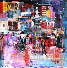 Nightlife, Piccadilly Circus by British Contemporary Artist Nagib KARSAN Mike Bernard, Abstract City, City Painting, Contemporary Artists, Contemporary Landscape, Collage Art Mixed Media, London Art, City Art, Art Google